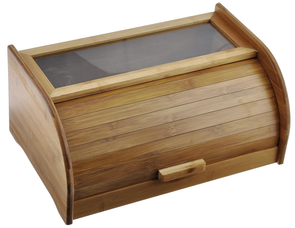 Хлебница Mayer & Boch, 40 см23268Хлебница Mayer & Boch, выполненная в классическом дизайне из бамбука, позволит сохранить ваш хлеб свежим и вкусным. Крышка оснащена герметичной дверцей в виде шторки-жалюзи и деревянной ручкой. Прозрачная пластиковая вставка, позволит вам контролировать наличие выпечки. Эксклюзивный дизайн, эстетика и функциональность хлебницы, делают ее превосходным аксессуаром на вашей кухне. Размер хлебницы: 40 см х 18 см 25 см.