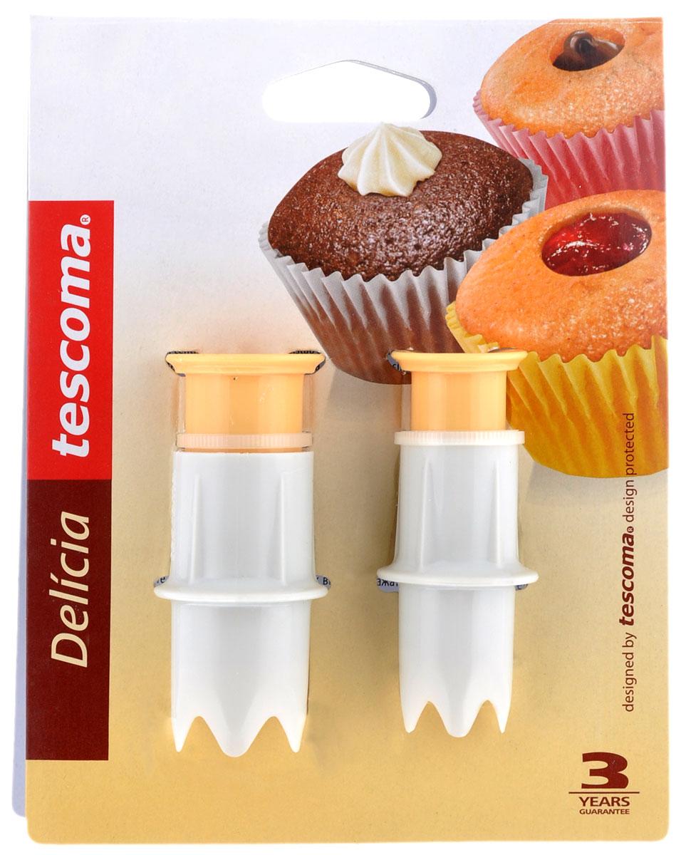 Шприц-нож для наполнения кексов начинкой Tescoma Delicia, 2 шт630088Шприц-нож Tescoma Delicia прекрасно подходит для легкого приготовления домашних кексов с начинкой. Изготовлен из высококачественного прочного пластика. Можно мыть в посудомоечной машине. Диаметр: 1,5; 2 см.