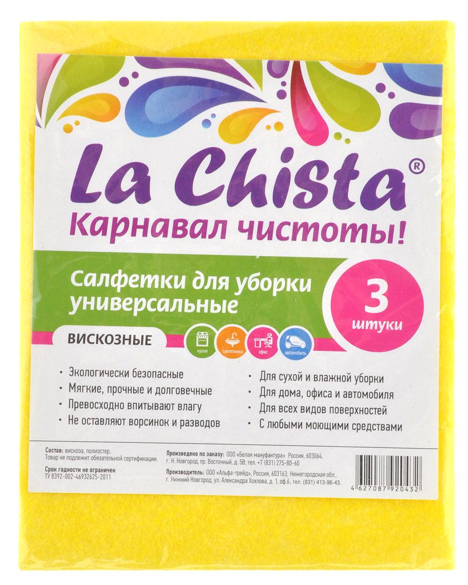 Салфетки универсальные La Chista, цвет: желтый, 3 шт870128_желтыйУниверсальные салфетки La Chista, изготовленные из вискозы, предназначены для чистки сантехники, обработки любых поверхностей на кухне, в офисе, в автомобиле. Салфетки экологичные и безопасные. Они мягкие, прочные и долговечные, превосходно впитывают влагу и не оставляют ворсинок и разводов. Подходят для сухой и влажной уборки с любыми моющими средствами.