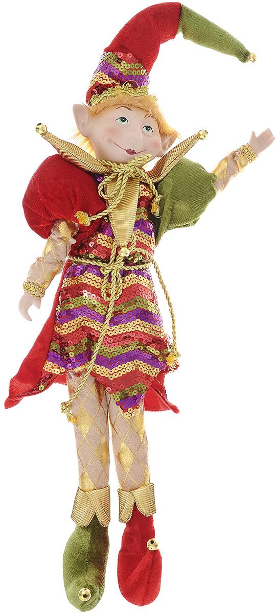 Новогодняя фигурка Its a Happy Day Кукла. Веселый Эльф, цвет: красный, зеленый, 54 см66322Новогодняя фигурка выполнена из фарфора и полиэстера в виде Эльфа. Эльф одет в яркий костюм, украшенный блестящими пайетками. Забавный колпак и оригинальные ботинки вызовут улыбку как у ребенка, так и у взрослого. Руки и ноги Эльфа могут сгибаться в разные стороны, поэтому вы можете его даже посадить в любое понравившееся вам место. Его добрый вид и приятная улыбка притягивают к себе восторженные взгляды. Оригинальная фигурка Its a Happy Day Кукла. Веселый Эльф подойдет для оформления новогоднего интерьера и принесет с собой атмосферу радости и веселья. Высота куклы: 54 см.