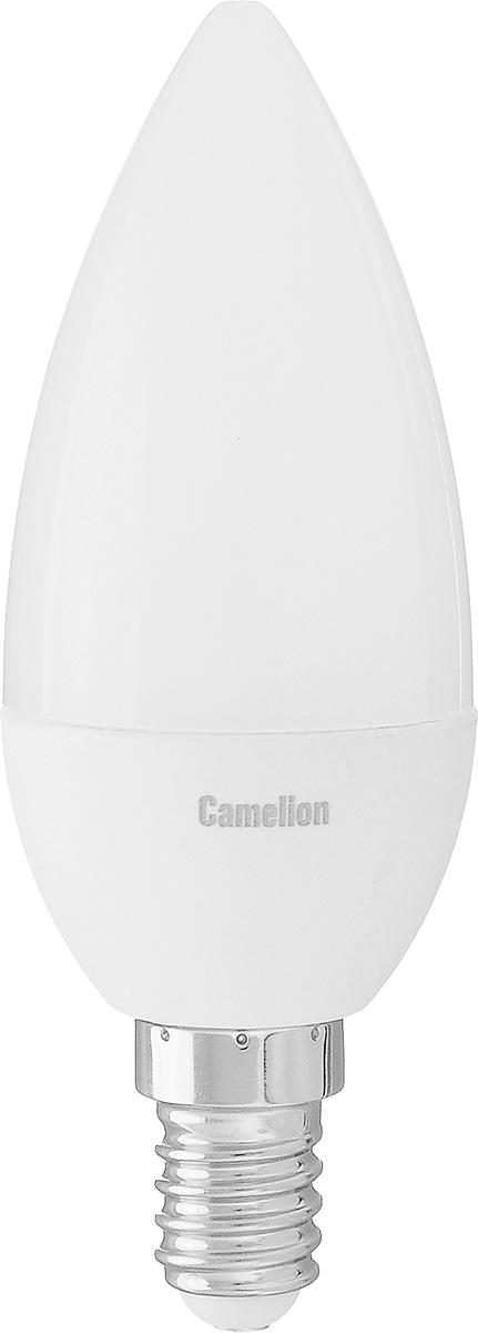 Лампа светодиодная Camelion, теплый свет, цоколь Е14, 5W5-C35/830/E14Энергосберегающая лампа Camelion - это инновационное решение, разработанное на основе новейших светодиодных технологий (LED) для эффективной замены любых видов галогенных или обыкновенных ламп накаливания во всех типах осветительных приборов. Она хорошо подойдет для освещения квартир, гостиниц и ресторанов. Лампа не содержит ртути и других вредных веществ, экологически безопасна и не требует утилизации, не выделяет при работе ультрафиолетовое и инфракрасное излучение. Напряжение: 220-240 В / 50 Гц. Индекс цветопередачи (Ra): 77+. Угол светового пучка: 220°. Использовать при температуре: от -30° до +40°.