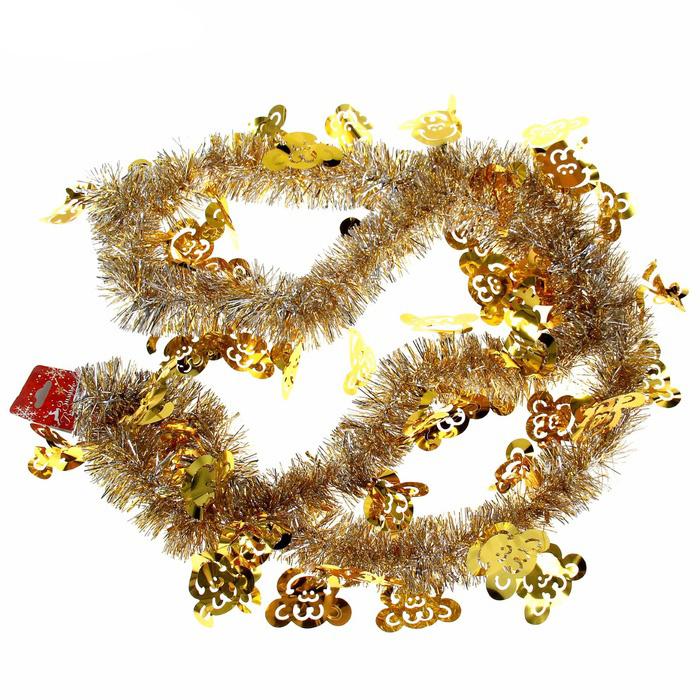 Мишура новогодняя Sima-land Обезьяна, цвет: золотистый, серебристый, диаметр 5 см, длина 200 см1096762Мишура новогодняя Sima-land Обезьяна, выполненная из фольги с фигурками обезьян, поможет вам украсить свой дом к предстоящим праздникам. Мишура армированная и способна сохранять приданную ей форму. Новогодней мишурой можно украсить все, что угодно - елку, квартиру, дачу, офис - как внутри, так и снаружи. Можно сложить новогодние поздравления, буквы и цифры, мишурой можно украсить и дополнить гирлянды, можно выделить дверные колонны, оплести дверные проемы. Мишура принесет в ваш дом ни с чем не сравнимое ощущение праздника! Создайте в своем доме атмосферу тепла, веселья и радости, украшая его всей семьей.