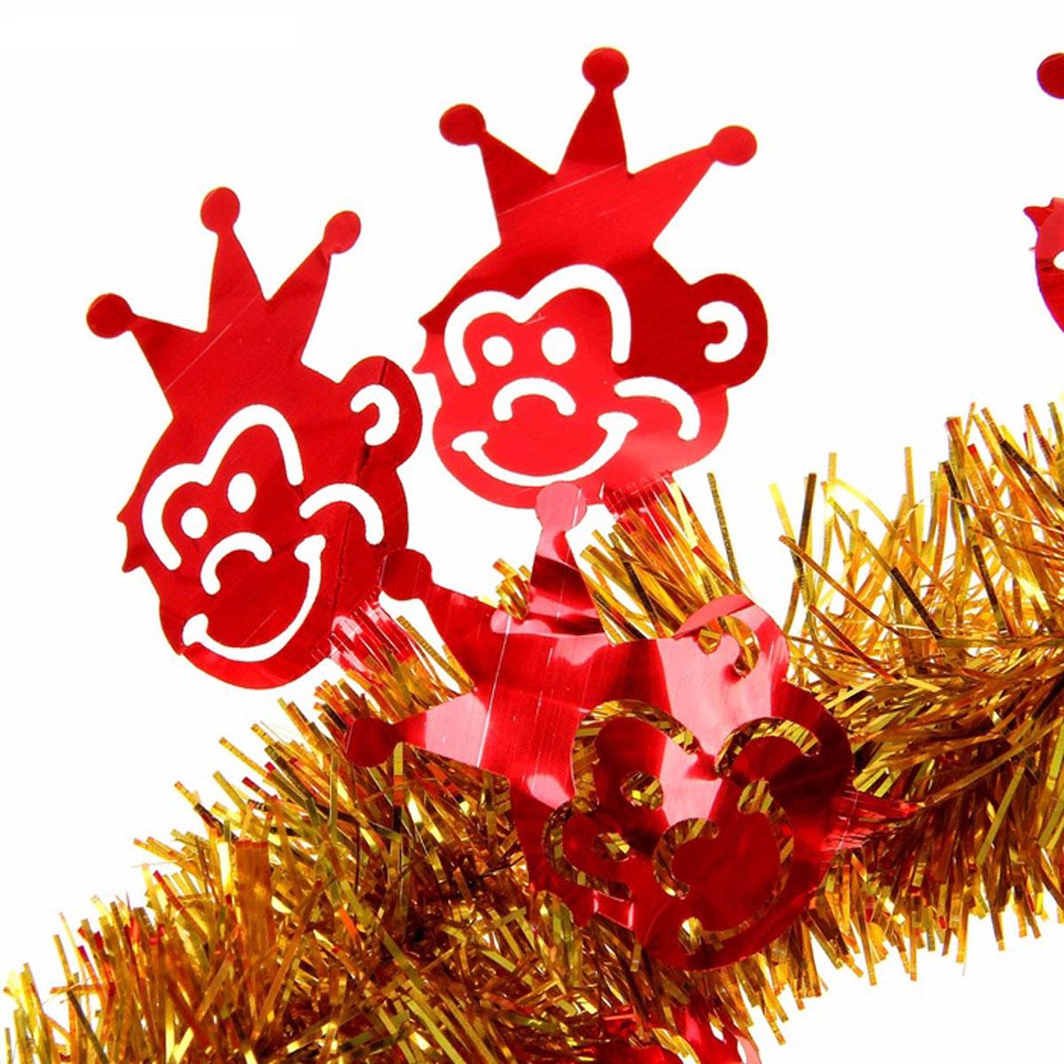 Мишура новогодняя Sima-land Обезьяна с короной, цвет: красный, золотистый, диаметр 5 см, длина 200 см. 10967601096760Мишура новогодняя Sima-land Обезьяна с короной, выполненная из фольги с фигурками обезьян, поможет вам украсить свой дом к предстоящим праздникам. Мишура армированная и способна сохранять приданную ей форму. Новогодней мишурой можно украсить все, что угодно - елку, квартиру, дачу, офис - как внутри, так и снаружи. Можно сложить новогодние поздравления, буквы и цифры, мишурой можно украсить и дополнить гирлянды, можно выделить дверные колонны, оплести дверные проемы. Мишура принесет в ваш дом ни с чем несравнимое ощущение праздника! Создайте в своем доме атмосферу тепла, веселья и радости, украшая его всей семьей.