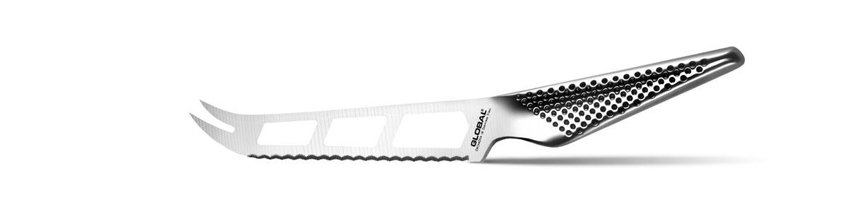 Нож для сыра Global, длина лезвия 14 смGS-10Нож для сыра Global выполнен из нержавеющей стали с зеркальной полировкой. Эргономичная рукоятка обеспечивает надежный хват. Нож превосходно подходит для нарезки твердых и мягких сыров. Острие оснащено вилкой, что позволяет ножом перекладывать нарезанные куски. В лезвии имеются отверстия для уменьшения прилипания сыра к лезвию. Нож для сыра Global станет отличным дополнением к коллекции ваших кухонных аксессуаров. Не рекомендуется мыть в посудомоечной машине.
