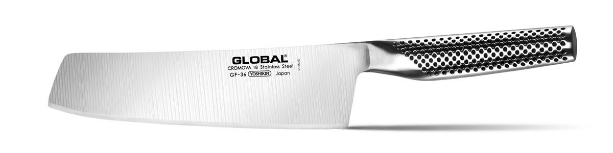 Нож для овощей Global, длина лезвия 20 смGF-36Бренд Global выбор многих поваров со всего мира, ножи этого производителя известны своей универсальностью и исключительной ловкостью. Отличительной чертой японских ножей Global являются их рукоятки и уникальная бесшовная конструкция. Рукоятки и лезвия изготовлены из одного, цельного полотна нержавеющей стали, что делает ножи максимально гигиеничными и прочными. На них не скапливается грязь, и их очень легко мыть. Покрытие рукоятки специальными ямочками-впадинами, обеспечивает удобный и надежный захват. Лезвие изготовлено из специального материала Cromova 18 Sanso, который состоит из трех слоев нержавеющей стали (центрального и двух боковых). Центральный слой режущей поверхности сделан из нержавеющей стали Cromova 18 (хром, молибден, ванадий) с твердостью по шкале Роквелла 58-59 единиц и заточен к острому краю, что дает удивительные результаты при резке. Этот слой заключен между двумя боковыми слоями более мягкой нержавеющей стали SUS 410, что помогает защитить лезвие от...