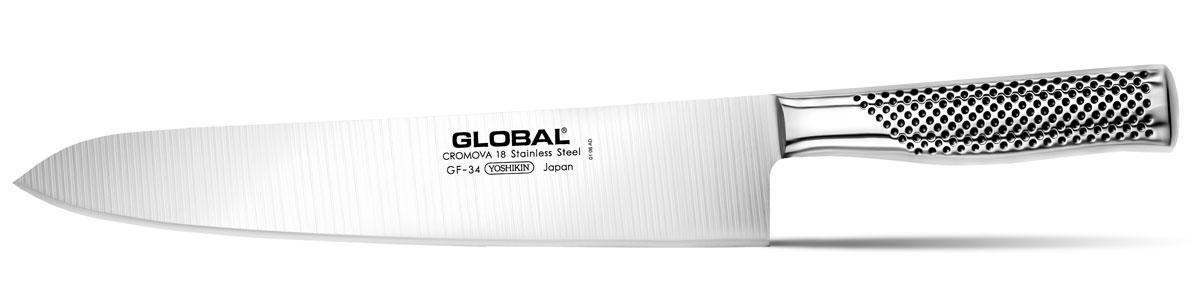 Нож кухонный Global, длина лезвия 27 смGF-34Бренд Global выбор многих поваров со всего мира, ножи этого производителя известны своей универсальностью и исключительной ловкостью. Отличительной чертой японских ножей Global являются их рукоятки и уникальная бесшовная конструкция. Рукоятки и лезвия изготовлены из одного, цельного полотна нержавеющей стали, что делает ножи максимально гигиеничными и прочными. На них не скапливается грязь, и их очень легко мыть. Покрытие рукоятки специальными ямочками-впадинами, обеспечивает удобный и надежный захват. Лезвие изготовлено из специального материала Cromova 18 Sanso, который состоит из трех слоев нержавеющей стали (центрального и двух боковых). Центральный слой режущей поверхности сделан из нержавеющей стали Cromova 18 (хром, молибден, ванадий) с твердостью по шкале Роквелла 58-59 единиц и заточен к острому краю, что дает удивительные результаты при резке. Этот слой заключен между двумя боковыми слоями более мягкой нержавеющей стали SUS 410, что помогает защитить лезвие от...