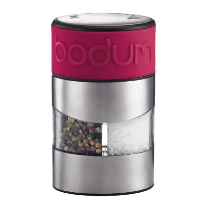Мельница для соли и перца Bodum Twin, цвет: розовыйA11002-634-Y15Один поворот яркой, покрытой бархатистым силиконом крышки - и только что измельченный перец, или соль у вас в тарелке. Крышка этой необыкновенной мельницы для специй сконструирована одновременно и как переключатель соль/перец. Форма мельницы - эргономичная, удобная для руки. Верхняя часть мельницы - круглая, снизу же мельница овальная: благодаря этому она не занимает много места на столе. Размер мельницы: 6,8 x 6,8 x 11,2 см.