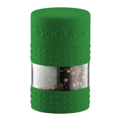 Мельница для соли и перца Bodum Bistro, цвет: зеленыйA11368-825-Y15Мельница для соли и перца Bodum Bistro, выполненная из прозрачного стекла и пластика, резины и металла, позволяет солить и перчить одновременно - это превосходное партнерство. В верхней части мельницы имеется силиконовая вставка. Мельница легка в использовании: одним поворотом силиконовой части мельницы приспособление переключается с солонки на перечницу, и вы сможете поперчить или добавить соль по своему вкусу в любое блюдо. Прочный керамический механизм позволяет молоть практически без усилий. Благодаря прозрачной конструкции легко определить, когда соль или перец заканчиваются. Оригинальная мельница модного дизайна будет отлично смотреться на вашей кухне.