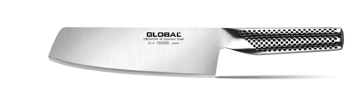 Нож для нарезки овощей Global, длина лезвия 18 см. G-5G-5Бренд Global выбор многих поваров со всего мира, ножи этого производителя известны своей универсальностью и исключительной ловкостью. Отличительной чертой японских ножей Global являются их рукоятки и уникальная бесшовная конструкция. Рукоятки и лезвия изготовлены из одного, цельного полотна нержавеющей стали, что делает ножи максимально гигиеничными и прочными. На них не скапливается грязь, и их очень легко мыть. Покрытие рукоятки специальными ямочками-впадинами, обеспечивает удобный и надежный захват. Лезвие изготовлено из специального материала Cromova 18 Sanso, который состоит из трех слоев нержавеющей стали (центрального и двух боковых). Центральный слой режущей поверхности сделан из нержавеющей стали Cromova 18 (хром, молибден, ванадий) с твердостью по шкале Роквелла 58-59 единиц и заточен к острому краю, что дает удивительные результаты при резке. Этот слой заключен между двумя боковыми слоями более мягкой нержавеющей стали...