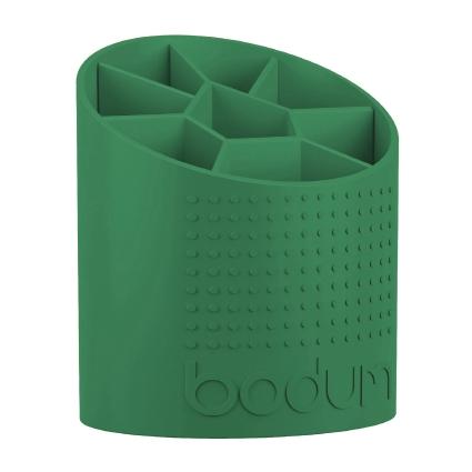 Подставка для кухонных принадлежностей Bodum Bistro, цвет: зеленыйA11551-825-Y15Подставка для кухонных принадлежностей Bodum Bistro выполнена из высококачественного пластика и оснащена вставкой-разделителем с 8 секциями. Ее легко и удобно переносить благодаря рифлению на корпусе. Благодаря своей компактности подставка занимает минимум полезного пространства на кухонной столешнице или шкафчике. Легко моется как вручную, так и в посудомоечной машине. Размер подставки: 12,7 х 14,5 х 17 см. Минимальная высота: 11 см. Максимальная высота: 17 см.
