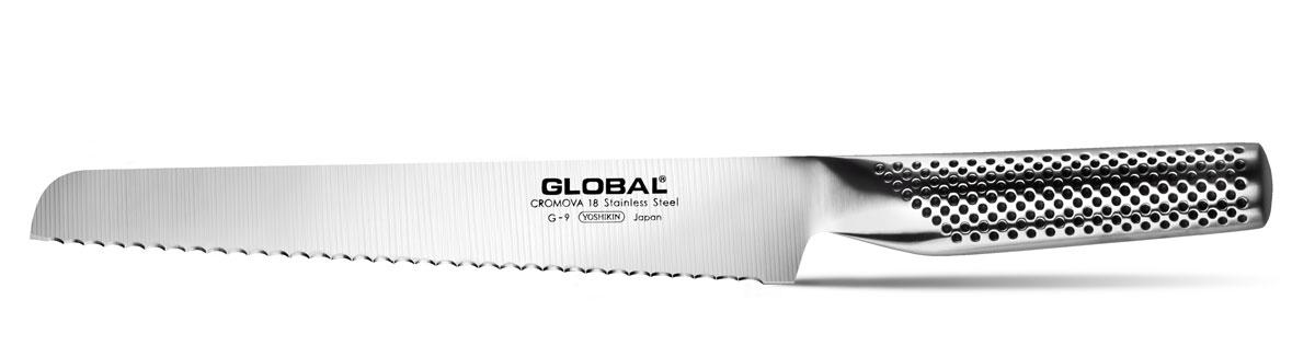 Нож для хлеба Global, длина лезвия 22 смG-9Бренд Global выбор многих поваров со всего мира, ножи этого производителя известны своей универсальностью и исключительной ловкостью. Отличительной чертой японских ножей Global являются их рукоятки и уникальная бесшовная конструкция. Рукоятки и лезвия изготовлены из одного, цельного полотна нержавеющей стали, что делает ножи максимально гигиеничными и прочными. На них не скапливается грязь, и их очень легко мыть. Покрытие рукоятки специальными ямочками-впадинами, обеспечивает удобный и надежный захват. Лезвие изготовлено из специального материала CROMOVA 18 SANSO, который состоит из трех слоев нержавеющей стали (центрального и двух боковых). Центральный слой режущей поверхности сделан из нержавеющей стали CROMOVA 18 (хром, молибден, ванадий) с твердостью по шкале Роквелла 58-59 единиц и заточен к острому краю, что дает удивительные результаты при резке. Этот слой заключен между двумя боковыми слоями более мягкой нержавеющей стали SUS 410, что помогает защитить лезвие от...