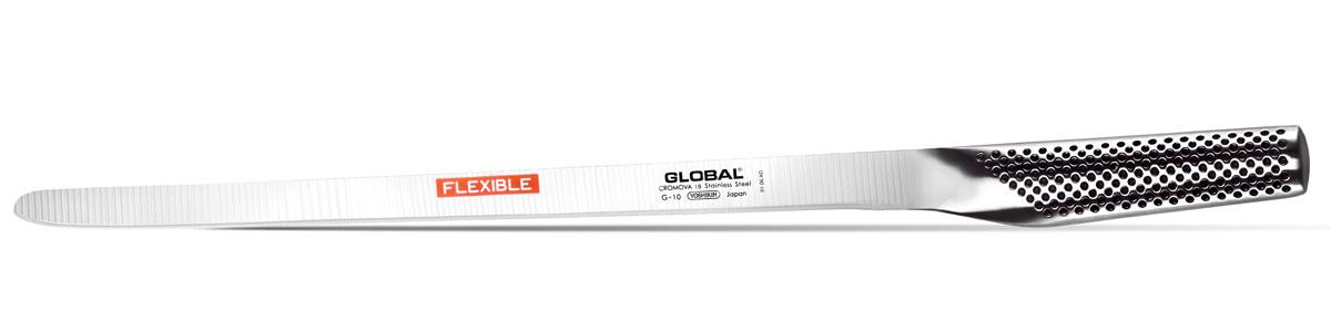 Нож для рыбы и мяса Global Salmon Flexible, длина лезвия 31 смG-10Нож Global Salmon Flexible выполнен из нержавеющей стали. Рукоятка ножа имеет оригинальное покрытие, которое обеспечивает надежный хват. Полая ручка ножа заполнена песком, количество которого точно рассчитано, чтобы обеспечить наиболее оптимальное соотношение веса лезвия и рукоятки. Этот метод позволяет добиться максимально точной балансировки. . Не рекомендуется мыть в посудомоечной машине.
