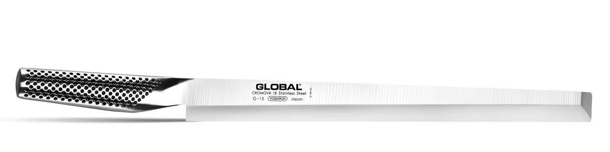 Нож Global Tako Sashimi , длина лезвия 30 смG-15RБренд Global выбор многих поваров со всего мира, ножи этого производителя известны своей универсальностью и исключительной ловкостью. Отличительной чертой японских ножей Global являются их рукоятки и уникальная бесшовная конструкция. Рукоятки и лезвия изготовлены из одного, цельного полотна нержавеющей стали, что делает ножи максимально гигиеничными и прочными. На них не скапливается грязь, и их очень легко мыть. Покрытие рукоятки специальными ямочками-впадинами, обеспечивает удобный и надежный захват. Лезвие изготовлено из специального материала Cromova 18 Sanso, который состоит из трех слоев нержавеющей стали (центрального и двух боковых). Центральный слой режущей поверхности сделан из нержавеющей стали Cromova 18 (хром, молибден, ванадий) с твердостью по шкале Роквелла 58-59 единиц и заточен к острому краю, что дает удивительные результаты при резке. Этот слой заключен между двумя боковыми слоями более мягкой нержавеющей стали SUS 410, что помогает защитить лезвие от...