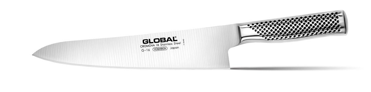 Нож кухонный Global, длина лезвия 24 смG-16Бренд Global выбор многих поваров со всего мира, ножи этого производителя известны своей универсальностью и исключительной ловкостью. Отличительной чертой японских ножей Global являются их рукоятки и уникальная бесшовная конструкция. Рукоятки и лезвия изготовлены из одного, цельного полотна нержавеющей стали, что делает ножи максимально гигиеничными и прочными. На них не скапливается грязь, и их очень легко мыть. Покрытие рукоятки специальными ямочками-впадинами, обеспечивает удобный и надежный захват. Лезвие изготовлено из специального материала Cromova 18 Sanso, который состоит из трех слоев нержавеющей стали (центрального и двух боковых). Центральный слой режущей поверхности сделан из нержавеющей стали Cromova 18 (хром, молибден, ванадий) с твердостью по шкале Роквелла 58-59 единиц и заточен к острому краю, что дает удивительные результаты при резке. Этот слой заключен между двумя боковыми слоями более мягкой нержавеющей стали SUS 410, что помогает защитить лезвие от...