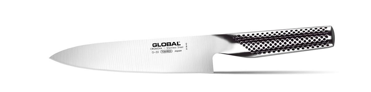 Нож кухонный Global, длина лезвия 18 смG-55Кухонный нож Global изготовлен из высококачественной нержавеющей стали. Лезвие такого ножа остается острым очень долгое время, оно заточено и сформировано для максимально эффективного использования. Такой нож подойдет для нарезки любых овощей, мяса без костей, рыбы и других продуктов. Нож Global станет прекрасным дополнением к коллекции ваших кухонных аксессуаров и не займет много места при хранении. Рекомендуется мыть в ручную.