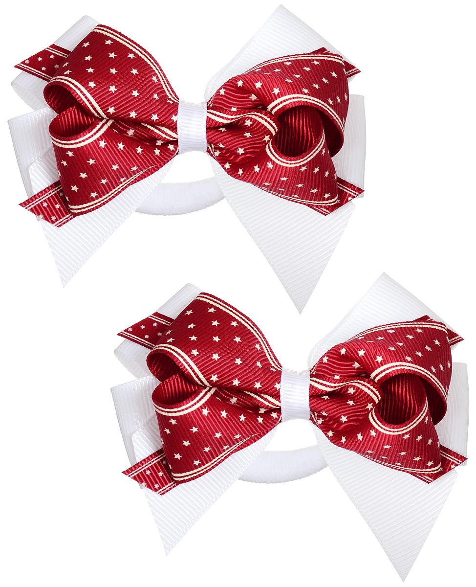 Резинка для волос Baby\'s Joy, цвет: красный, 2 шт. MN 121/2 ( MN 121/2_красный/белый )
