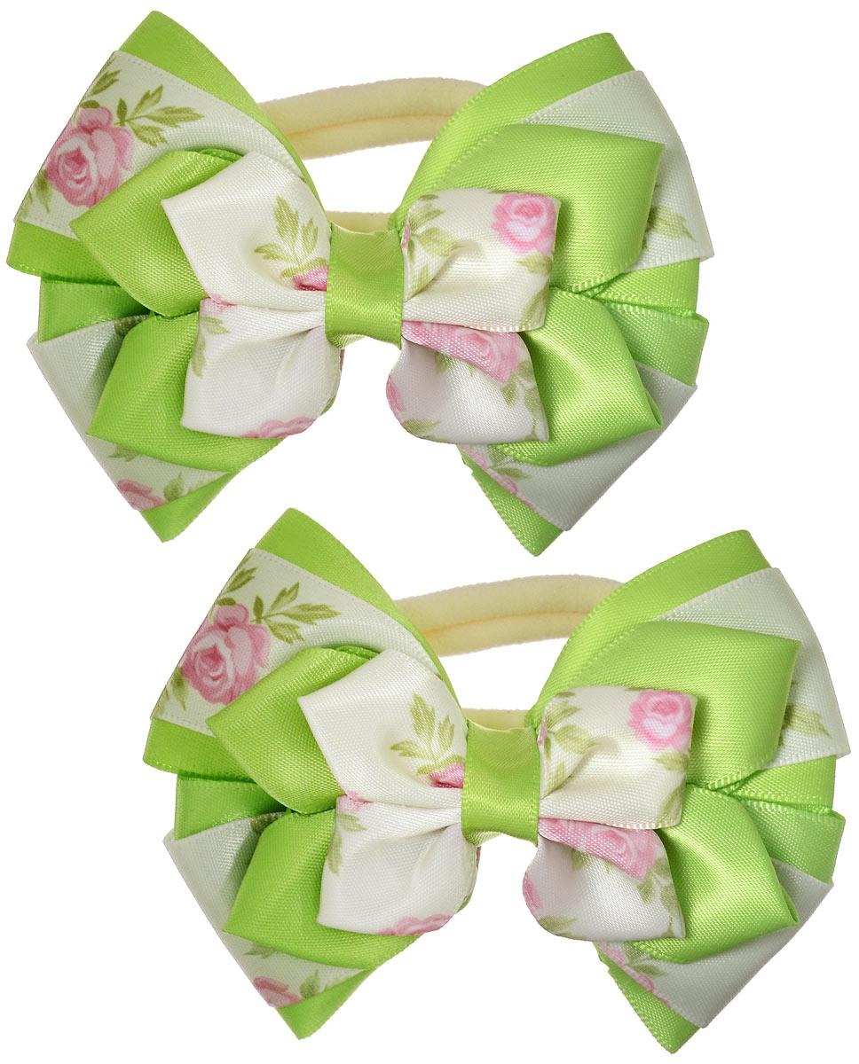 Резинка для волос Babys Joy, цвет: салатовый, 2 шт. MN 143/2MN 143/2_зеленыйРезинка для волос Babys Joy выполнена в форме банта-бабочки из текстиля и дополнена милым бантиком, который оформлен цветочным принтом. Резинка для волос Babys Joy надежно зафиксирует волосы и подчеркнет красоту прически вашей маленькой модницы.