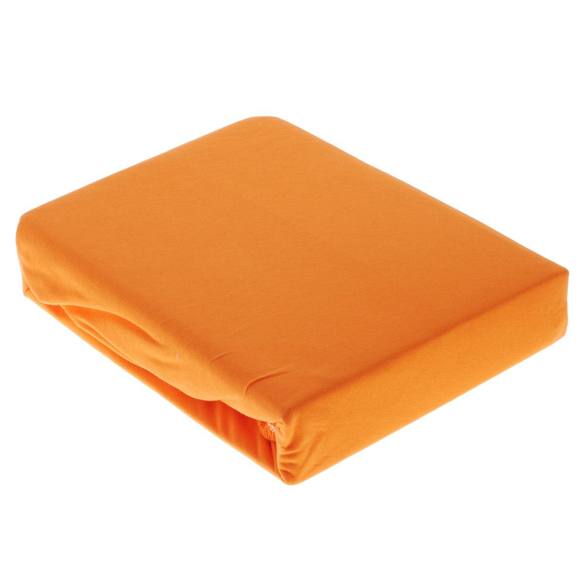 Простыня OL-Tex Джерси, на резинке, цвет: оранжевый, 180 см х 200 см х 20 смПТР-180Простыня OL-Tex Джерси изготовлена из гладкокрашеного трикотажного полотна (100% хлопок), не имеет швов. По всему периметру простыня снабжена резинкой. Изделие легко одевается на матрасы высотой до 20 см. Идеально подходит в качестве наматрасника. Рекомендации по уходу: - Ручная и машинная стирка при температуре 30°С. - Гладить при средней температуре до 150°С. - Не отбеливать. - Можно сушить и отжимать в стиральной машине. - Химчистка запрещена.
