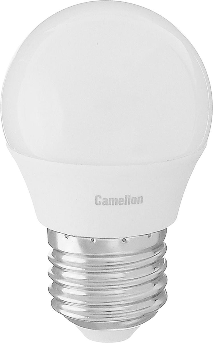 Лампа светодиодная Camelion, холодный свет, цоколь Е27, 5W5-G45/845/E27Энергосберегающая лампа Camelion - это инновационное решение, разработанное на основе новейших светодиодных технологий (LED) для эффективной замены любых видов галогенных или обыкновенных ламп накаливания во всех типах осветительных приборов. Она хорошо подойдет для создания рабочей атмосферы в производственных и общественных зданиях, спортивных и торговых залах, в офисах и учреждениях. Лампа не содержит ртути и других вредных веществ, экологически безопасна и не требует утилизации, не выделяет при работе ультрафиолетовое и инфракрасное излучение. Напряжение: 220-240 В / 50 Гц. Индекс цветопередачи (Ra): 77+. Угол светового пучка: 220°. Использовать при температуре: от -30° до +40°.