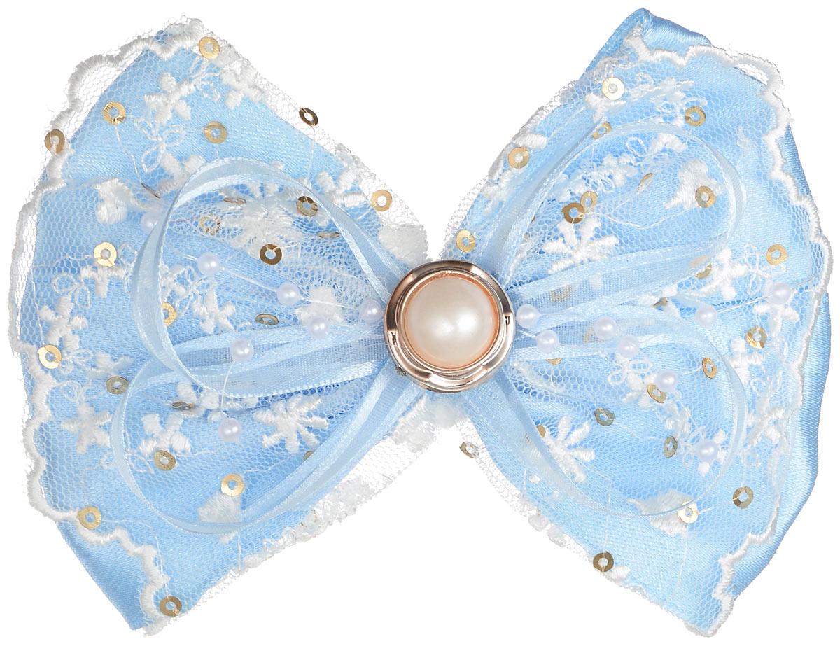 Резинка для волос Babys Joy, цвет: голубой. MN 220MN 220_голубойРезинка для волос Babys Joy выполнена в форме банта-бабочки из текстиля и дополнена милым бантиком, который оформлен бусиной, пайетками и кружевом. Резинка для волос Babys Joy надежно зафиксирует волосы и подчеркнет красоту прически вашей маленькой модницы.