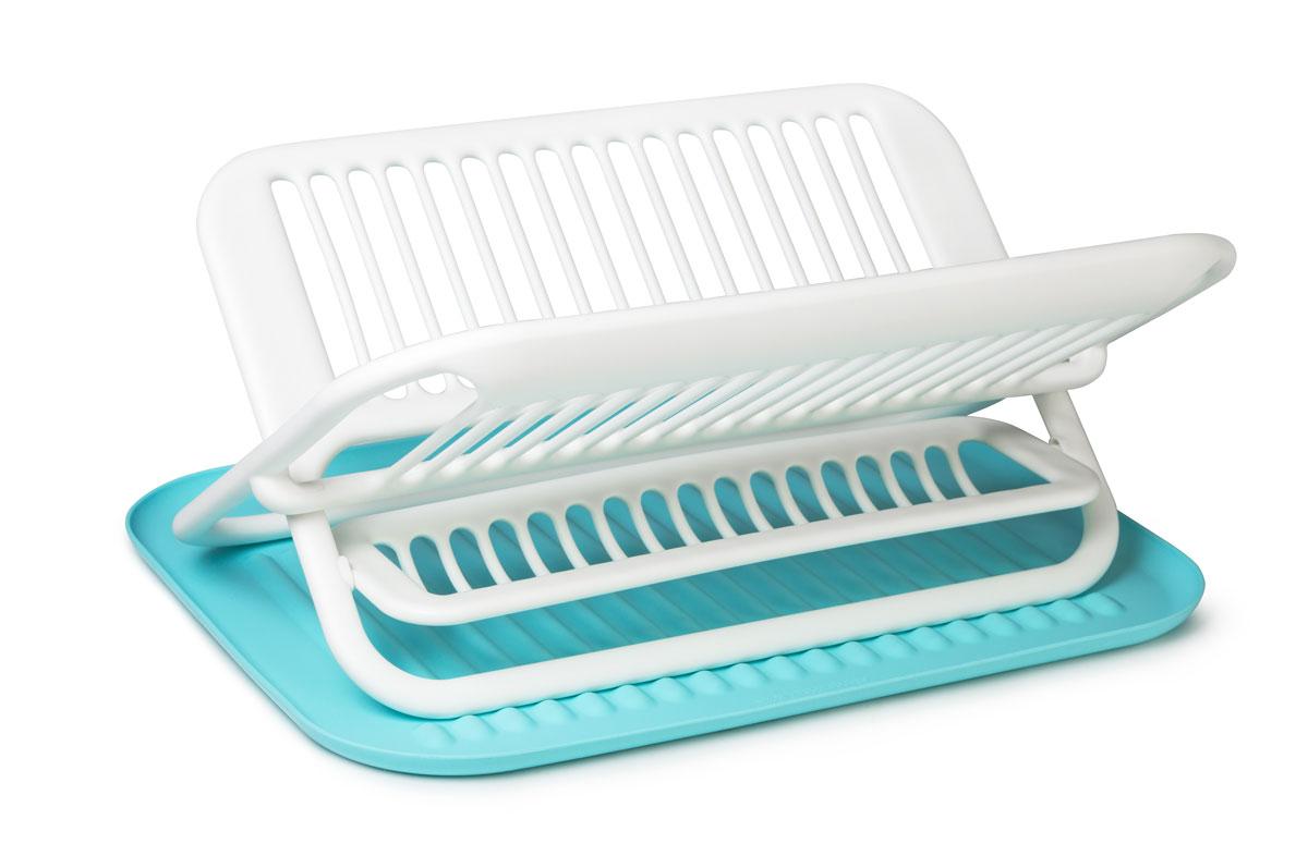 Сушилка для посуды SiliconeZone, цвет: белый, голубой, 47,5 х 35,5 х 22 смSZ11-KS-11648-AAСтильная и функциональная сушилка для посуды изготовлена из пищевого пластика и силикона. Столовые приборы могут быть помещены в специальную нишу. Силиконовый коврик предназначен для стекающей воды с посуды. При необходимости сушилку легко сложить. Размер сушилки: 35,5 х 46,9 х 22 см. Размер коврика: 47,5 х 35,5 х 1,7 см