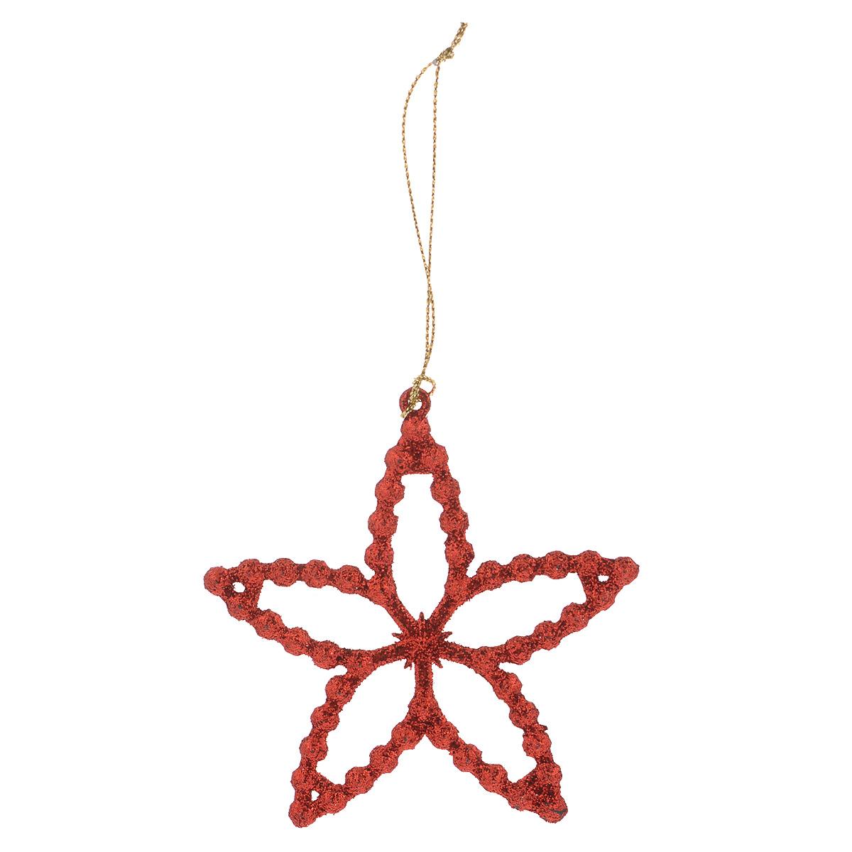 Новогоднее подвесное украшение Феникс-презент Звездочка, цвет: красный38735Новогоднее украшение Феникс-презент Звездочка отлично подойдет для декорации вашего дома и праздничной ели. Изделие выполнено из пластика в виде звезды, декорированной блестками, и оснащено текстильной петелькой для подвешивания. Елочная игрушка - символ Нового года. Она несет в себе волшебство и красоту праздника. Создайте в своем доме атмосферу веселья и радости, украшая всей семьей новогоднюю елку нарядными игрушками, которые будут из года в год накапливать теплоту воспоминаний.