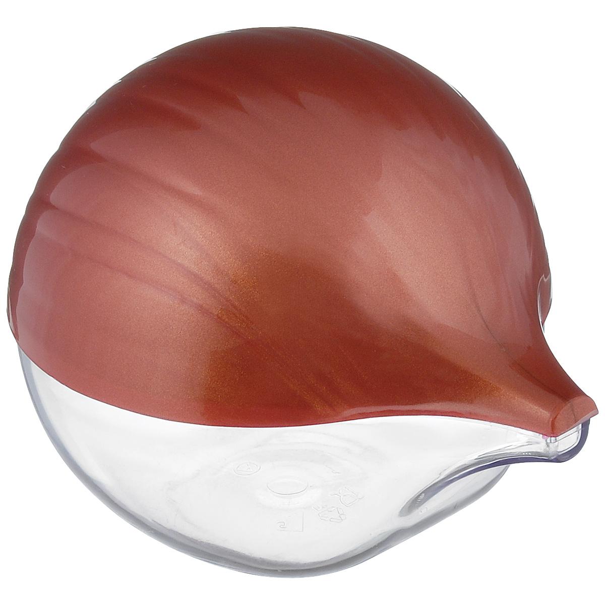 Емкость для лука Альтернатива, цвет: прозрачный, красно-коричневыйМ942Емкость для хранения репчатого лука Альтернатива, изготовленная из пластика с полупрозрачной крышкой, дольше сохранит полезные свойства разрезанного лука, предотвратит распространение запаха и сбережет лук от высыхания. Оригинальный дизайн контейнера, выполненного в виде луковицы, украсит ваш кухонный стол.