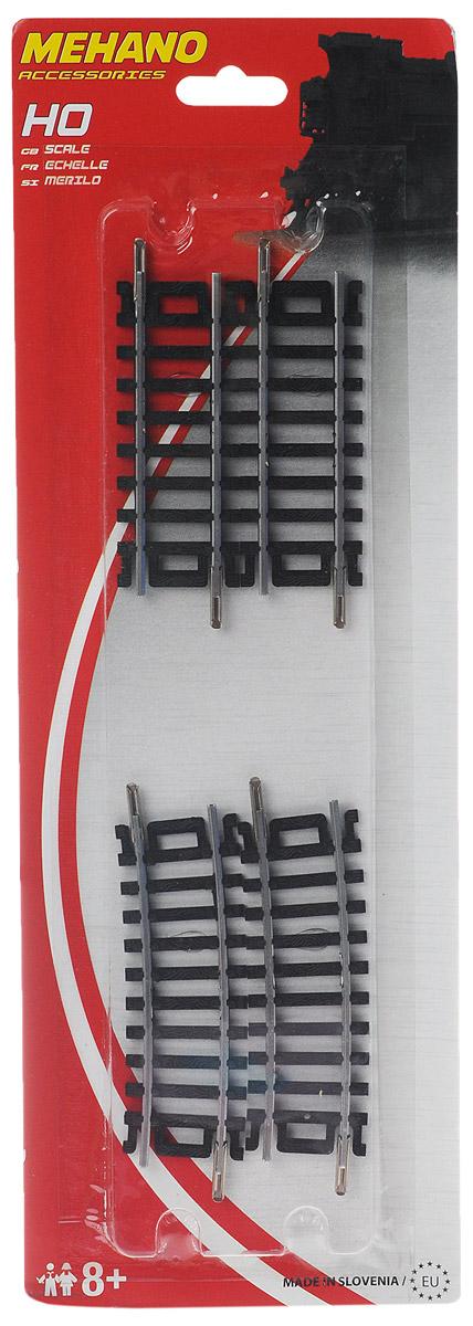 Mehano Набор прямых и поворотных рельсов 4 штF234Набор рельсов для железнодорожного полотна Mehano позволят вам проявить фантазию и создать свой собственный, неповторимый железнодорожный трек. В комплект входят 2 прямых и 2 поворотных рельса с углом поворота в 10°. Рельсы выполнены из высококачественного прочного пластика и никеля в масштабе 1:87, они подходят для железной дороги с шириной колеи 16,5 мм. Такая железная дорога будет совместима со всеми поездами и вагонами Mehano в масштабе 1:87, а также с другими элементами железнодорожных треков. Дополнительные элементы для железнодорожного полотна Mehano станут незаменимыми аксессуарами для вашей миниатюрной железной дороги.