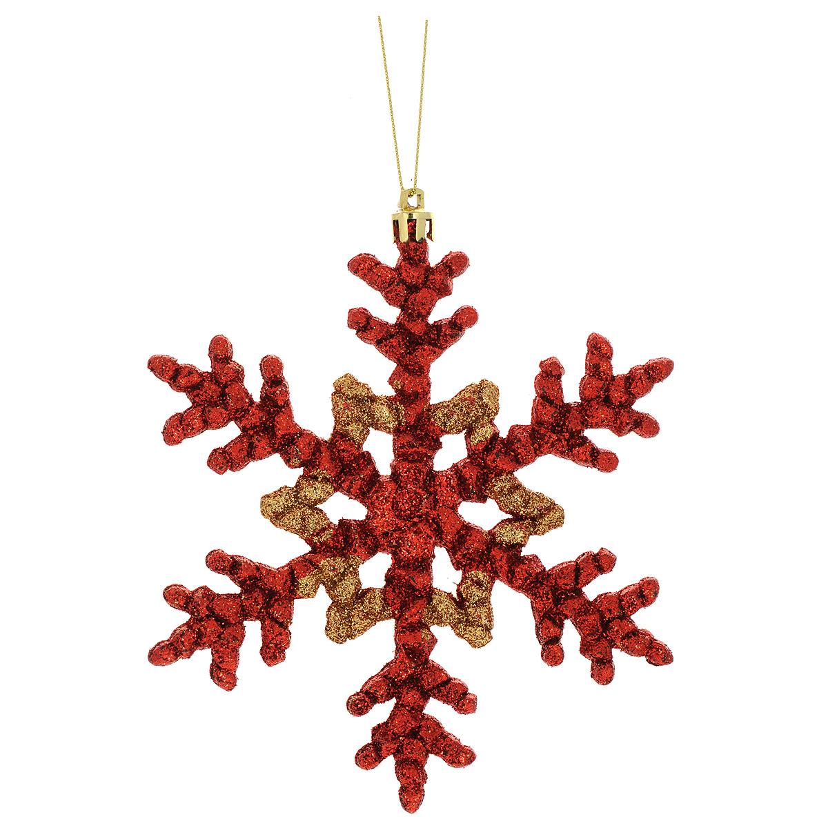 Новогоднее подвесное украшение Феникс-Презент Снежинка, цвет: красный, золотистый34994Новогоднее украшение Феникс-Презент Снежинка, изготовленное из высококачественного пластика, прекрасно подойдет для праздничного декора дома и новогодней ели. С помощью специальной текстильной петельки его можно повесить в любом понравившемся вам месте. Елочная игрушка - символ Нового года. Она несет в себе волшебство и красоту праздника. Создайте в своем доме атмосферу веселья и радости, украшая новогоднюю елку нарядными игрушками, которые будут из года в год накапливать теплоту воспоминаний.