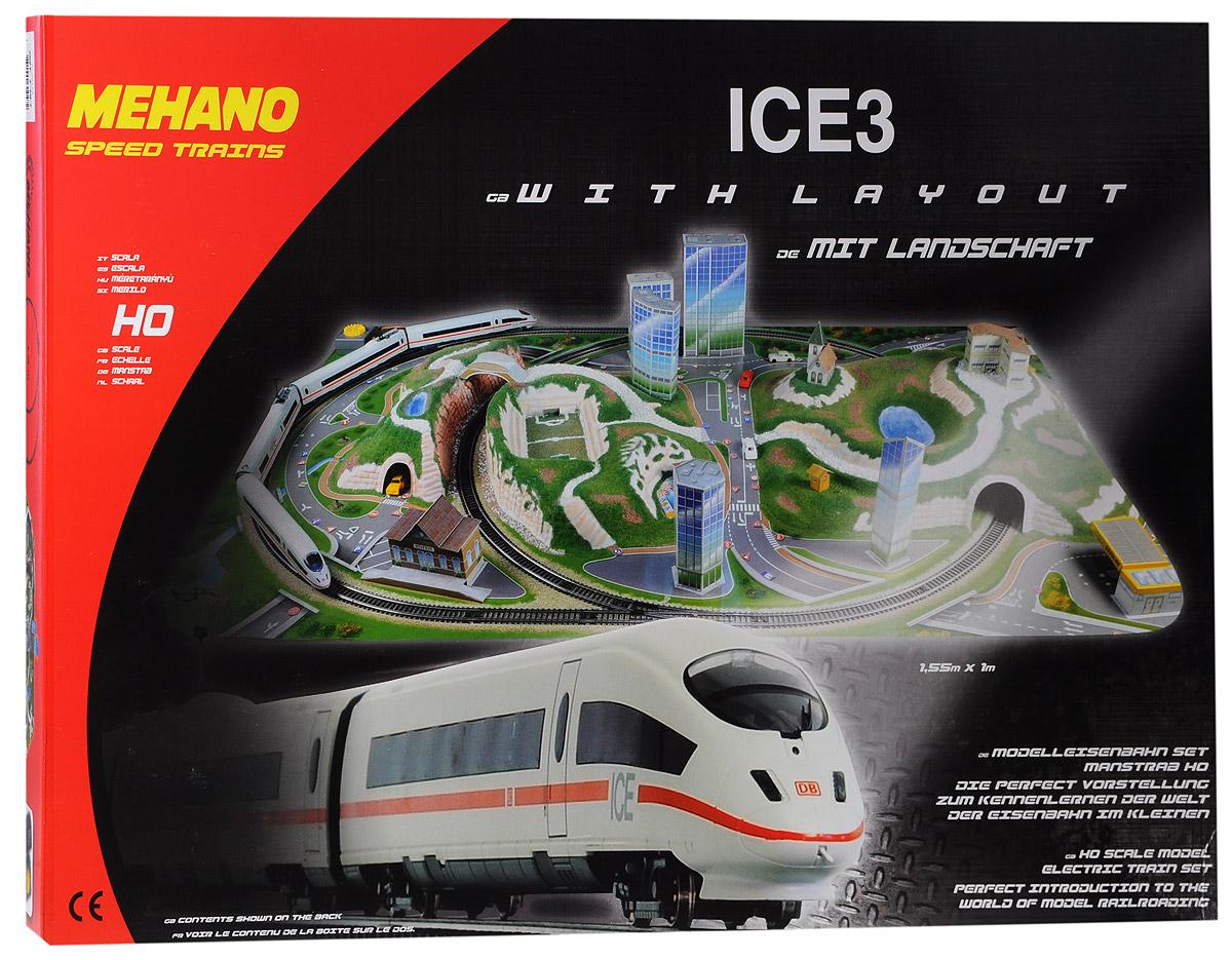Mehano Железная дорога ICE3 с ландшафтомT737Железная дорога Mehano ICE3 с ландшафтом - миниатюрная копия знаменитого германского скоростного состава ICE3 (Сапсан). Такая железная дорогая понравится не только детям, но взрослым коллекционерам. В комплект входит все необходимое для создания собственного железнодорожного трека: ведущий локомотив ICE3, ведомый локомотив ICE3, вагон первого класса, вагон второго класса, игровое поле, 5 моделей высотных зданий, автозаправку, станцию, 2 ворот, 3 холма, модель бассейна, здание отеля, мостик, церковь, будку, а также железнодорожное полотно, включающее в себя 17 радиальных рельс, 2 прямые рельсы, 2 стрелки, 22 соединительных элементов системы Quick Click, сетевой адаптер, пульт-контроллер, подробную иллюстрированную инструкцию по сборке и управлению железной дорогой. Обтекаемые линии, белоснежный цвет в сочетании с тонкой алой полосой, быстрое движение поезда делают его похожим на механическую птицу, которая летит по рельсам, будто не касаясь их. На пути скоростного поезда...