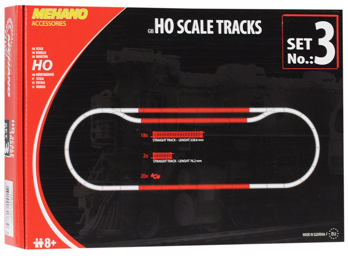Mehano Набор рельс №3F103Набор рельс №3 для железнодорожного полотна Mehano позволит вам проявить фантазию и создать свой собственный, неповторимый железнодорожный трек. В комплект входят 18 прямых участков железнодорожного полотна, 2 коротких прямых отрезка-компенсатора, 20 клипс-соединителей. Рельсы выполнены из высококачественного прочного пластика и никеля в масштабе 1:87, они подходят для железной дороги с шириной колеи 16,5 мм. Железная дорога, составленная из таких рельс, будет совместима со всеми поездами и вагонами Mehano в масштабе 1:87, а также с другими элементами железнодорожных треков компании Mehano. Набор рельс Mehano станет незаменимым аксессуаром для вашей миниатюрной железной дороги. Играя с этим набором, юный машинист сможет прокладывать различные маршруты, строить новые станции, придумывать неповторимый, свой собственный уникальный ландшафт.