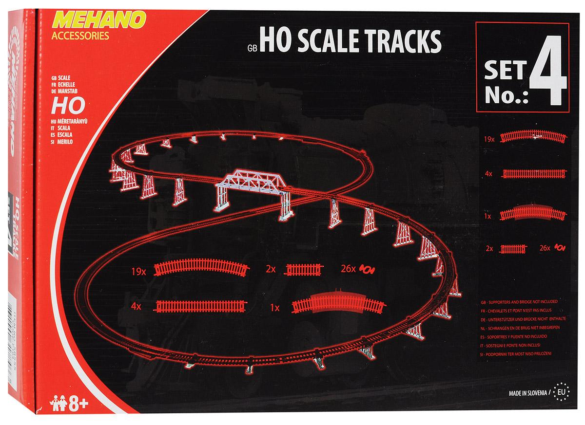 Mehano Набор рельс №4F104Набор рельс №4 для железнодорожного полотна Mehano позволит вам проявить фантазию и создать свой собственный, неповторимый железнодорожный трек. В комплект входят 4 прямых участка железнодорожного полотна, 19 радиальных отрезков, 1 радиальный отрезок с клеммами для подключения питания, 2 коротких прямых отрезка-компенсатора, 26 клипс-соединителей. Рельсы выполнены из высококачественного прочного пластика и никеля в масштабе 1:87, они подходят для железной дороги с шириной колеи 16,5 мм. Железная дорога, составленная из таких рельс, будет совместима со всеми поездами и вагонами Mehano в масштабе 1:87, а также с другими элементами железнодорожных треков компании Mehano. Набор рельс Mehano станет незаменимым аксессуаром для вашей миниатюрной железной дороги. Играя с этим набором, юный машинист сможет прокладывать различные маршруты, строить новые станции, придумывать неповторимый, свой собственный уникальный ландшафт.