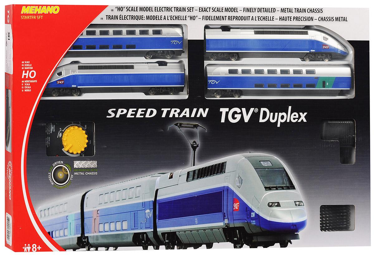 Mehano Железная дорога TGV DuplexT681Железная дорога Mehano TGV Duplex - миниатюрная копия экспресса скоростного состава. Такая железная дорогая понравится не только детям, но взрослым коллекционерам. В комплект входит все необходимое для создания собственного железнодорожного трека со скоростным составом: ведущий локомотив TGV Duplex, ведомый локомотив TGV Duplex, вагон первого класса, вагон второго класса, а также железнодорожное полотно, включающее в себя 12 радиальных рельс, 2 прямые рельсы, 12 соединительных элементов системы Quick Click, сетевой адаптер, пульт- контроллер, подробную иллюстрированную инструкцию по сборке и управлению железной дорогой. Обтекаемая форма, тщательно проработанные детали и быстрое движение поезда делают его похожим на механическую птицу, которая летит по рельсам, будто не касаясь их. Корпусы поезда и вагонов выполнены из пластика, колеса, а также рельсы выполнены из металла. Благодаря пульту-контроллеру вы сможете изменять скорость и направление движения состава. Максимальная...