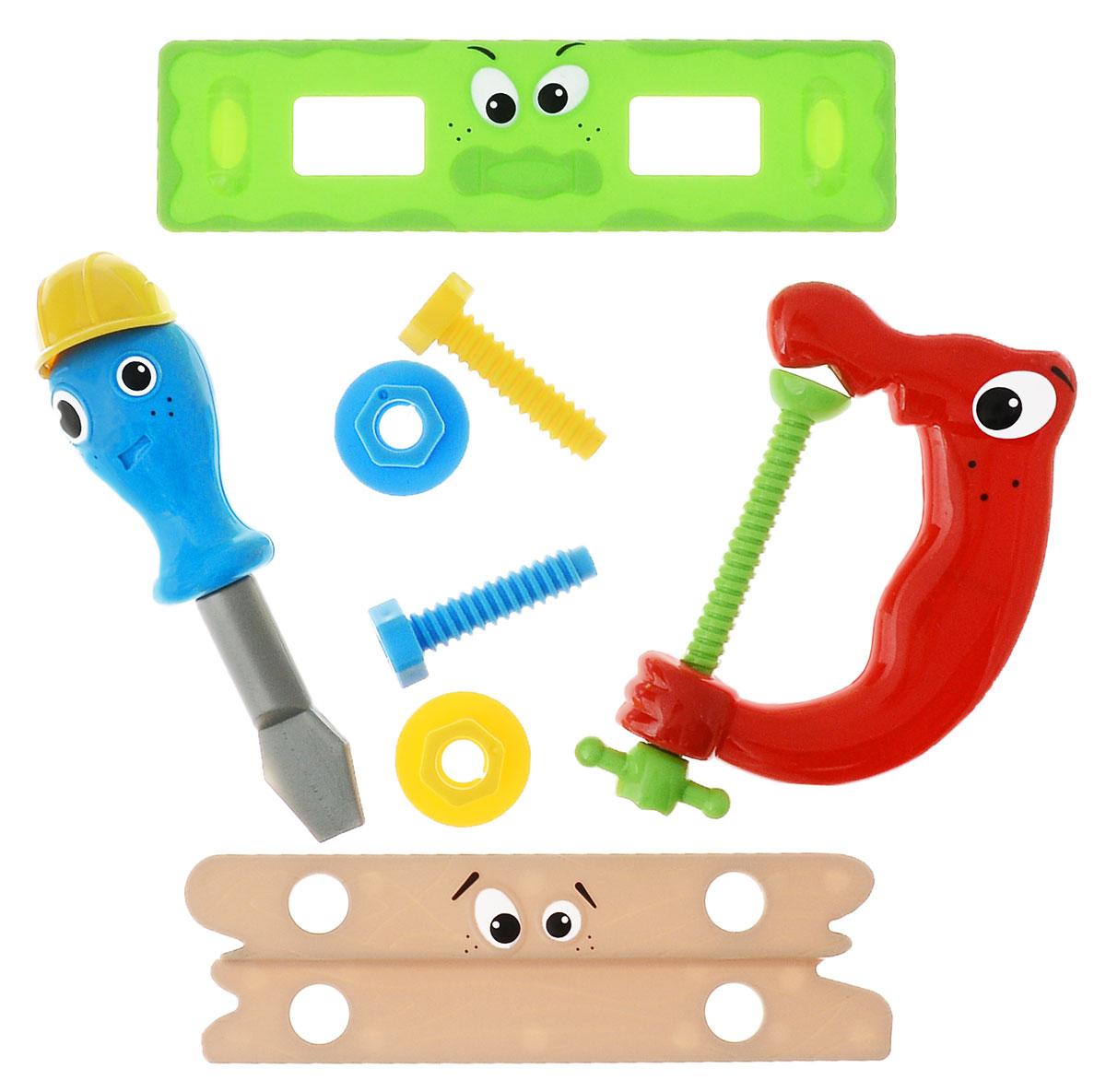 1TOY Игровой набор Профи-малыш цвет зеленый красный синийТ55985_серыйИгровой набор 1TOY Профи-малыш состоит из реалистичных инструментов для любой работы. В наборе 8 элементов: уровень, 2 болта, 2 гайки, тиски, отвертка, дощечка с отверстиями. Все составляющие набора изготовлены из безопасного качественного пластика. С помощью игрового набора с инструментами ребенок сможет обучиться быть более самостоятельным и хозяйственным. Играя в сюжетно-ролевые игры, у него развивается логическое мышление, координация движений и внимательность.