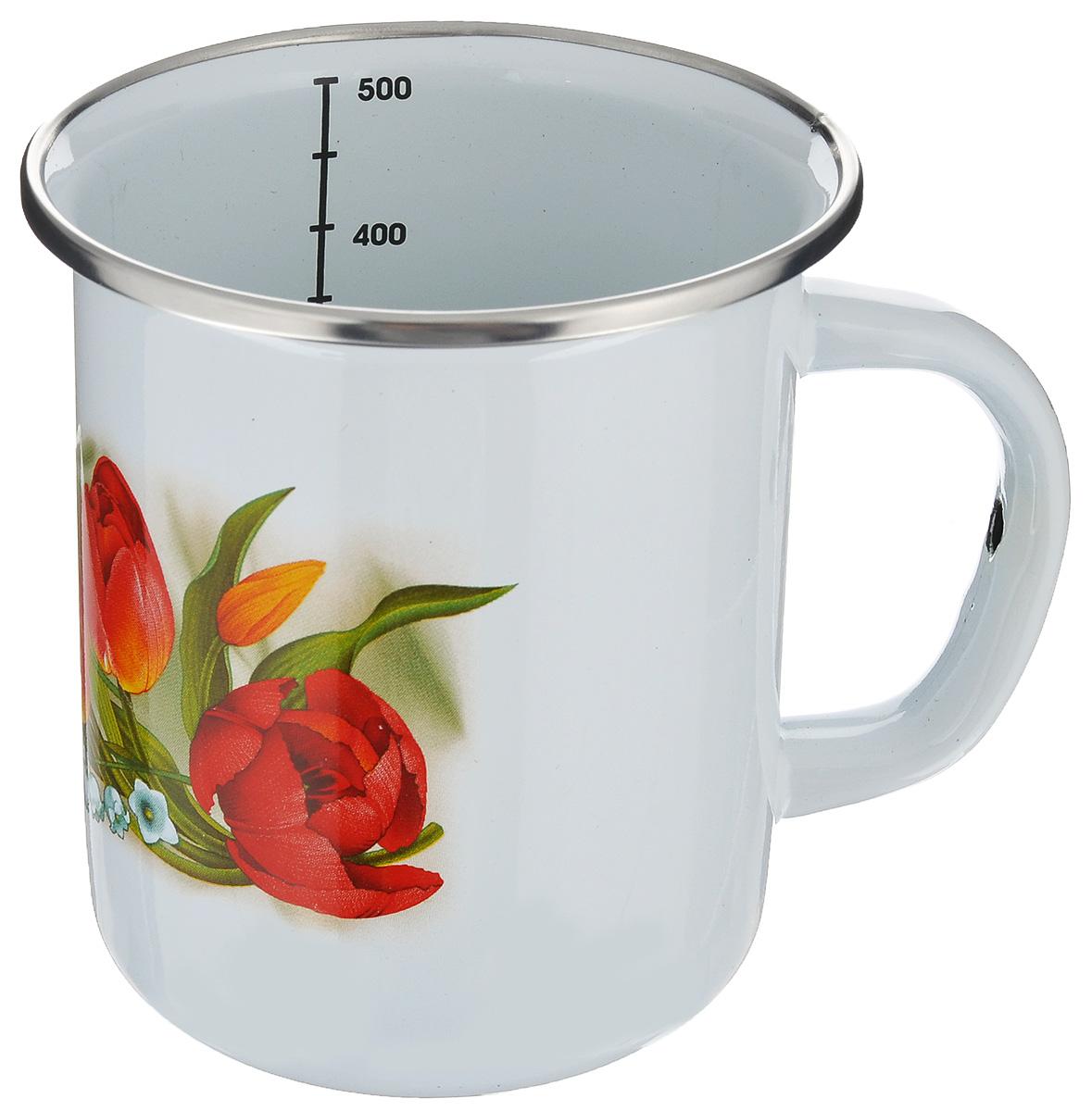 Кружка Цветы. Тюльпаны, 500 мл0104АРС/4_тюльпаныКружка АК ЛМЗ Цветы изготовлена из нержавеющей стали с высококачественным эмалированным покрытием. Внешние стенки оформлены красочным цветочным рисунком. Кружка невероятно функциональная: ее можно использовать для подогревания пищи прямо на плите, хранения продуктов, в том числе в холодильнике. Кружка пригодна для использования на всех видах плит, включая индукционные. Можно мыть в посудомоечной машине. Объем кружки: 500 мл. Диаметр кружки по верхнему краю: 9,5 см. Высота кружки: 10,5 см.
