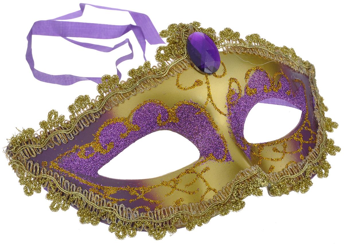 Маска карнавальная Lunten Ranta Бал, цвет: золотой, фиолетовый66189_золотой, фиолетовыйКарнавальная маска Lunten Ranta Бал, изготовленная из пластика и ПВХ и украшенная блестками, внесет нотку задора и веселья в праздник. Маска станет завершающим штрихом в создании праздничного образа. Изделие крепится на голове при помощи атласной ленты. В этой роскошной маске вы будете неотразимы!