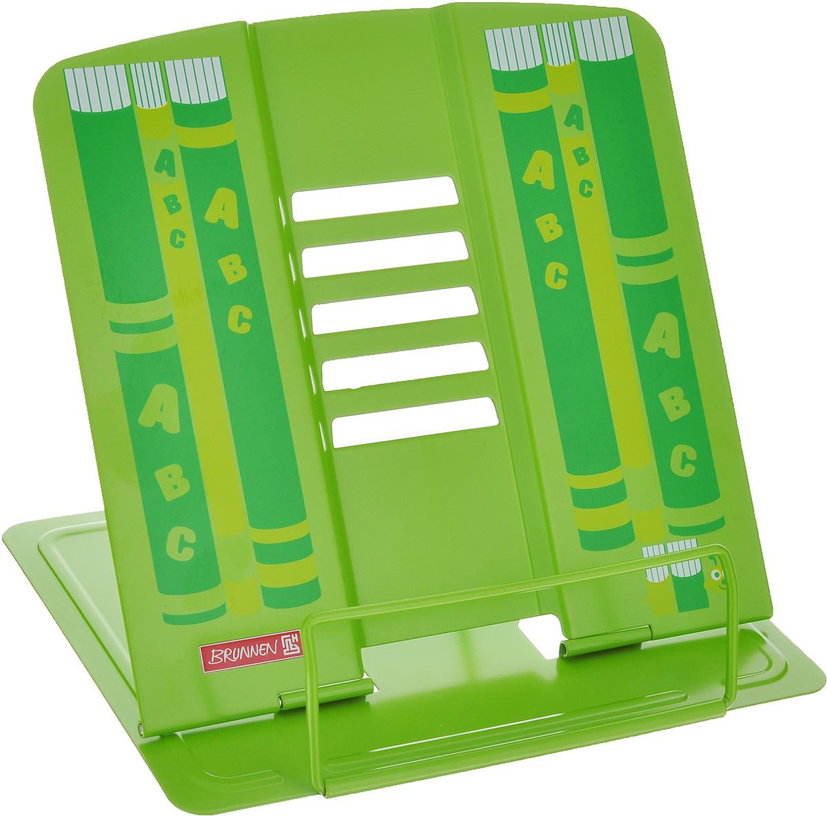Подставка для учебников Brunnen, цвет: зеленый40401\BCD_зеленыйПодставка Brunnen, выполненная из металла, предназначена для книг и учебников. Подставка оснащена упором, благодаря которому она имеет несколько углов наклона. Яркая подставка с изображением книг станет для ребенка незаменимым аксессуаром в период обучения. Размер (в разложенном виде): 19,5 см х 22 см.