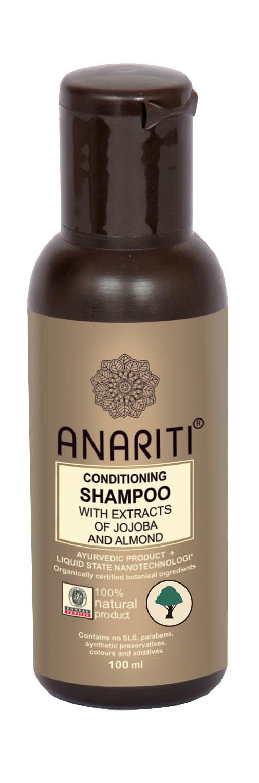 Anariti шампунь кондиционирующий с экстрактами жожоба и миндаля, 100 г19012Рекомендуется для сухих, поврежденных , химически обработанных волос. Шампунь восстанавливает гидролипидный баланс волос и кожи головы, защищает волосы от солнца и химической обработки. Экстракты жожоба и миндаля питают, восстанавливают и увлажняют волосяные стержни и кожу головы. Шампунь придает волосам мягкость, объем, здоровый блеск и эластичность.