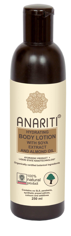 Anariti лосьон для тела увлажняющий с экстрактом сои и миндальным маслом ,250 г19023Лосьон для тела Anariti глубоко увлажняет кожу и поддерживает необходимый уровень увлажнения в течение дня. Разглаживает и подтягивает кожу, насыщает ее увлажняющими и питательными элементами, содержащимися в высококачественных растительных экстрактах и отборных натуральных маслах.