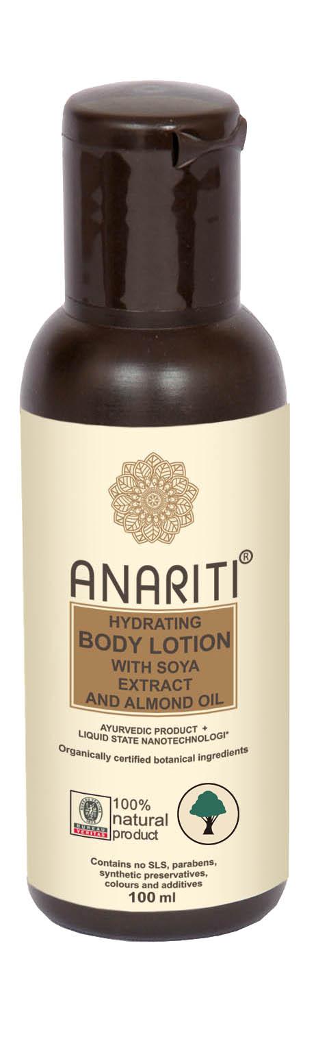 Anariti лосьон для тела увлажняющий с экстрактом сои и миндальным маслом ,100 г19024Лосьон для тела Anariti глубоко увлажняет кожу и поддерживает необходимый уровень увлажнения в течение дня. Разглаживает и подтягивает кожу, насыщает ее увлажняющими и питательными элементами, содержащимися в высококачественных растительных экстрактах и отборных натуральных маслах.