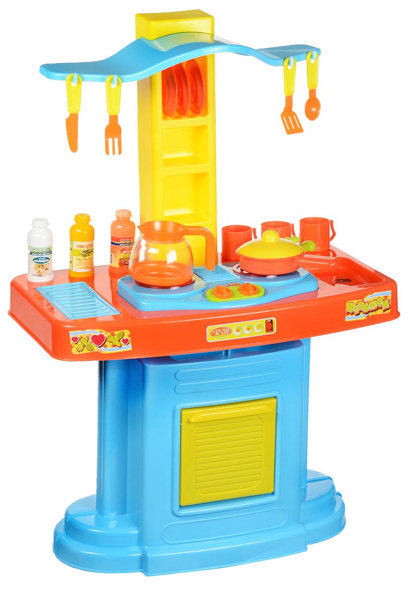 Super Leader Игровой набор Кухня цвет голубой оранжевый желтый801829_голубой, оранжевый, желтыйИгровой набор Super Leader Кухня предназначен для детей от 3-х лет и старше. Игрушечная кухня подходит для детских сюжетно-ролевых игр. Многофункциональная кухня с варочной панелью на 2 конфорки, грилем, раковиной с краном (без воды), разделочным столиком, духовкой с открывающейся дверкой, полочками и крючками для размещения кухонной посуды, аксессуаров или продуктов. Работа кухни сопровождается световыми и звуковыми эффектами: конфорки подсвечиваются, слышны звуки приготовления еды. В набор входят элементы для сборки кухни, чашки, сковорода с крышкой, чайник, тарелки, ложка, вилка, нож, различные баночки. Играя, ребенок не только получает удовольствие, но и приобретает навыки в области социальной адаптации. Подобный набор обязательно обрадует маленькую хозяюшку и станет для нее превосходным подарком! Для работы игрушки необходимы 2 батарейки типа АА (товар комплектуется демонстрационными).