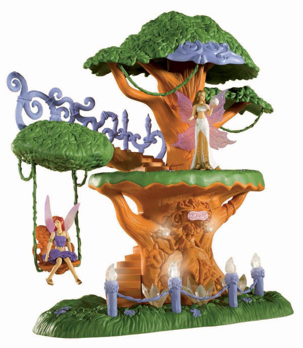 Simba Игровой набор Magic Fairies Дом на дереве4417760Игровой набор Magic Fairies Дом на дереве надолго займет внимание вашей малышки и подарит ей множество счастливых мгновений. Набор состоит из пластикового дерева с лесенками и качелями, на которых так нравится раскачиваться волшебным феям. Дерево декорировано большими прозрачными кристаллами и заборчиком с огоньками. Если нажать на специальную кнопку на дереве, загорятся волшебные огоньки на заборчике и на самом дереве. В наборе также имеются две фигурки фей. Одна из фигурок с крылышками и в белом длинном платье. Вторая фея в коротком фиолетовом платье отдыхает на качелях. Благодаря играм с куклами или фигурками, ваша малышка сможет развить фантазию и любознательность, овладеть навыками общения и научиться ответственности, а дополнительные аксессуары сделают игру еще увлекательнее. Порадуйте свою принцессу таким прекрасным подарком! Для работы необходимо докупить 2 батарейки 1,5V типа АА (комплектуется демонстрационными).