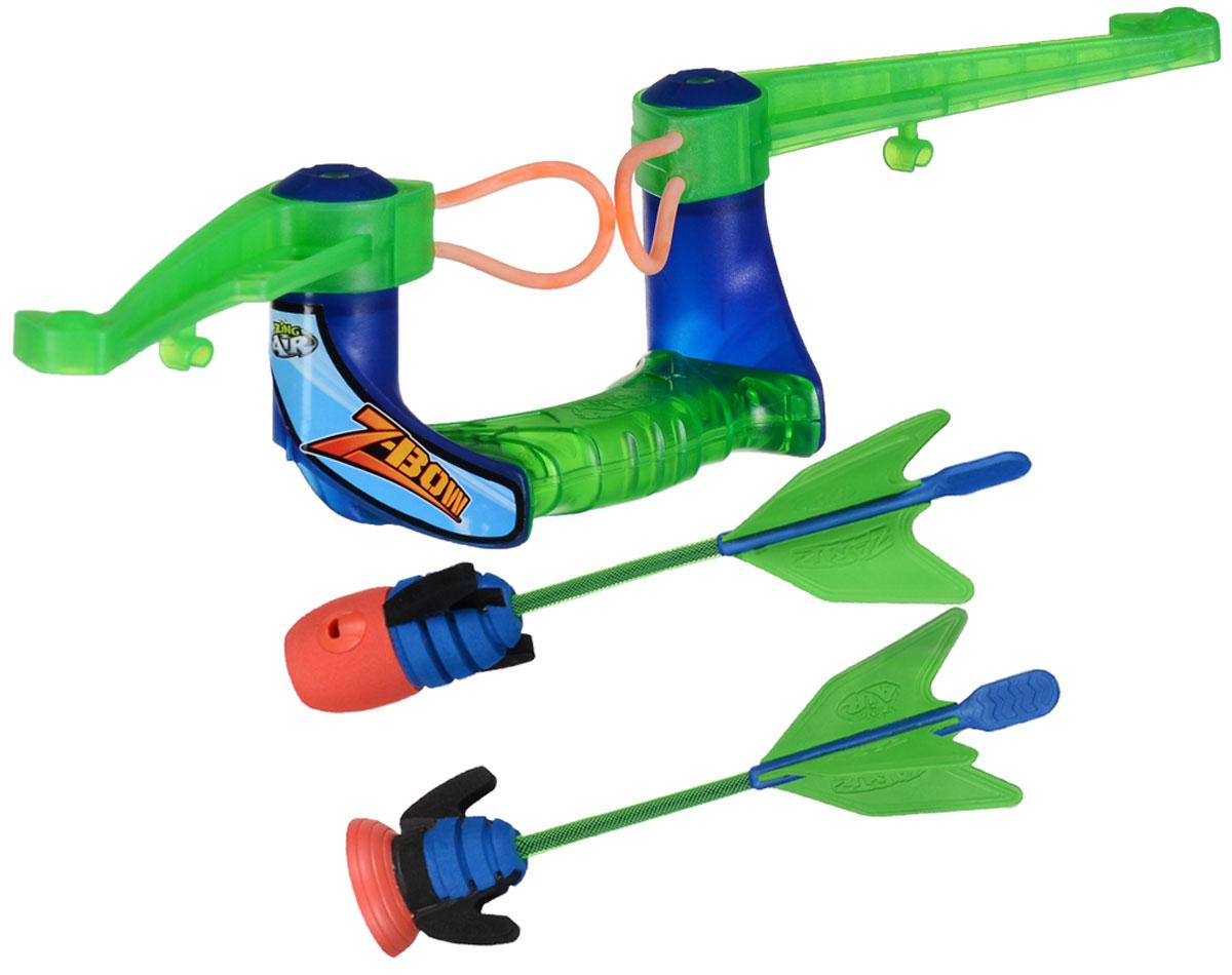 Zing Global Лук Air Z-Bow со стрелами цвет зеленый синийZG575Лук Zing Air Zano Bow позволит вашему ребенку почувствовать себя во всеоружии! Лук выполнен из яркого прочного пластика и снабжен двумя резинками для запуска стрел. Комплект также включает в себя 2 стрелы (одна из них с присоской). Этот оригинальный лук легко заряжать, он стреляет метко и действительно далеко, а поэтому отлично подойдет для активного отдыха. Игра с луком поможет ребенку в развитии меткости, ловкости, координации движений и сноровки.