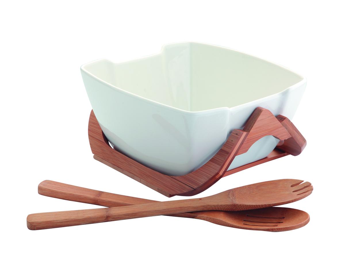 Салатник Augustin Welz, цвет: белый, 1,98 лAW-2252Салатник Augustin Welz выполнена из фарфора и дополнена бамбуковыми подставкой, а так же сервировочной парой из дерева. Он создаст комфорт и уют на кухне и идеально подойдет для большой семьи. Изделие подходит как для повседневного домашнего использования, так и для профессиональной сервировки стола и станет прекрасным подарком к любому празднику. Объем салатника: 1980 мл, Размер салатника по верхнему краю: 23 см х 21 см. Размер подставки: 24 см х 21 см х 10,5 см. Длина сервировочной пары (деревянные ложка и вилка): 25 см.