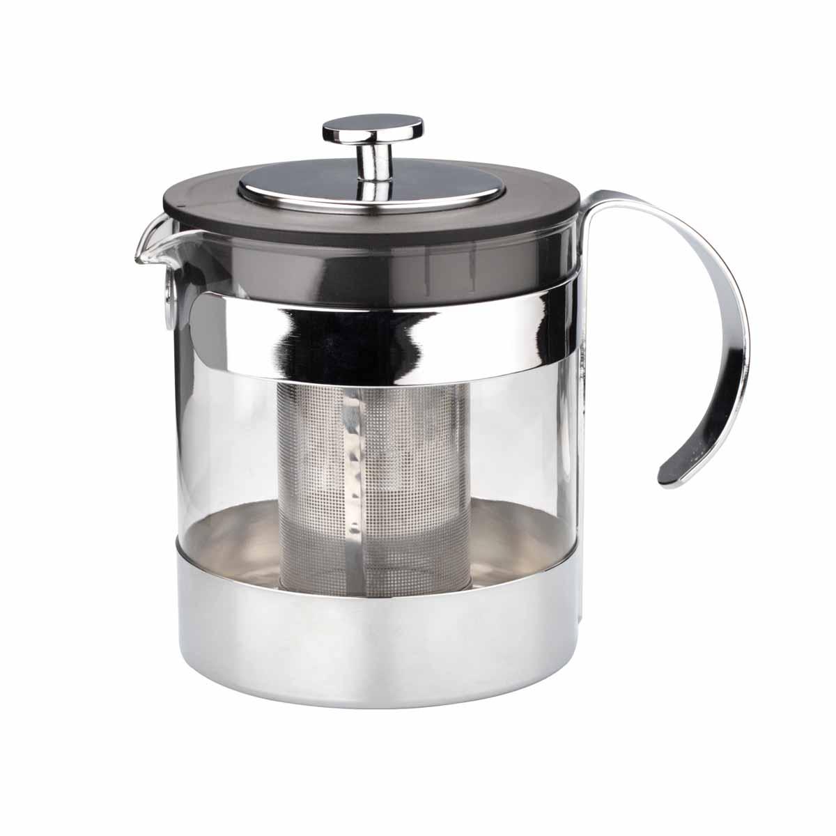Чайник заварочный Dekok, 1,2 лCP-1021Заварочный чайник Dekok изготовлен из термостойкого стекла - прочного износостойкого материала. Чайник оснащен фильтром и крышкой из нержавеющей стали. Простой и удобный чайник поможет вам приготовить крепкий, ароматный чай или кофе. Дизайн изделия создает гипнотическую атмосферу через сочетание полупрозрачного цвета и хромированных элементов. Не рекомендуется мыть в посудомоечной машине. Не использовать в микроволновой печи. Диаметр (по верхнему краю): 11 см. Высота (без учета крышки): 13,5 см. Высота фильтра: 9 см.