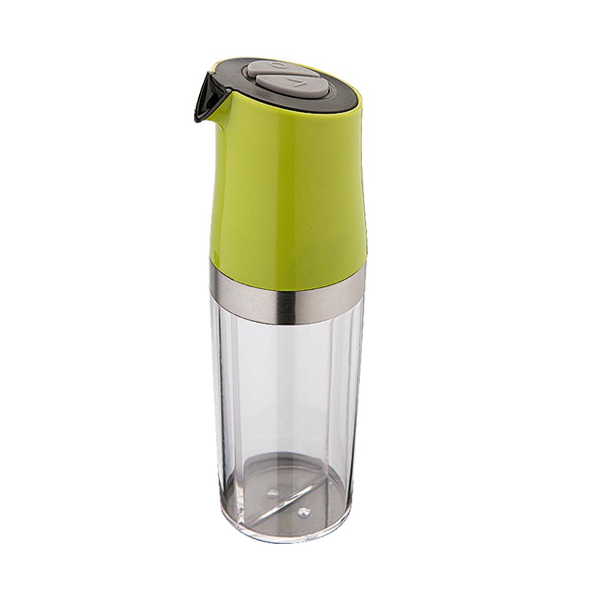 Емкость для масла и уксуса Dekok с дозатором, цвет: прозрачный, фисташковыйSJ-50Емкость для масла и уксуса Dekok изготовлена из высококачественного пластика и стали и оснащена специальным дозатором-разбрызгивателем. Она легка в использовании. Прозрачная колба имеет внутри перегородку, благодаря которой в емкости может одновременно находится и масло, и уксус. На колбе расположен дозатор, оснащенный двумя кнопками. Стоит только нажать кнопку с отметкой О - и вы будете распылять масло, а на отметку V - распылять только уксус. Быстро и просто! Оригинальная емкость будет отлично смотреться на вашей кухне. Размер емкости (с учетом дозатора): 6 см х 6 см х 19,5 см.
