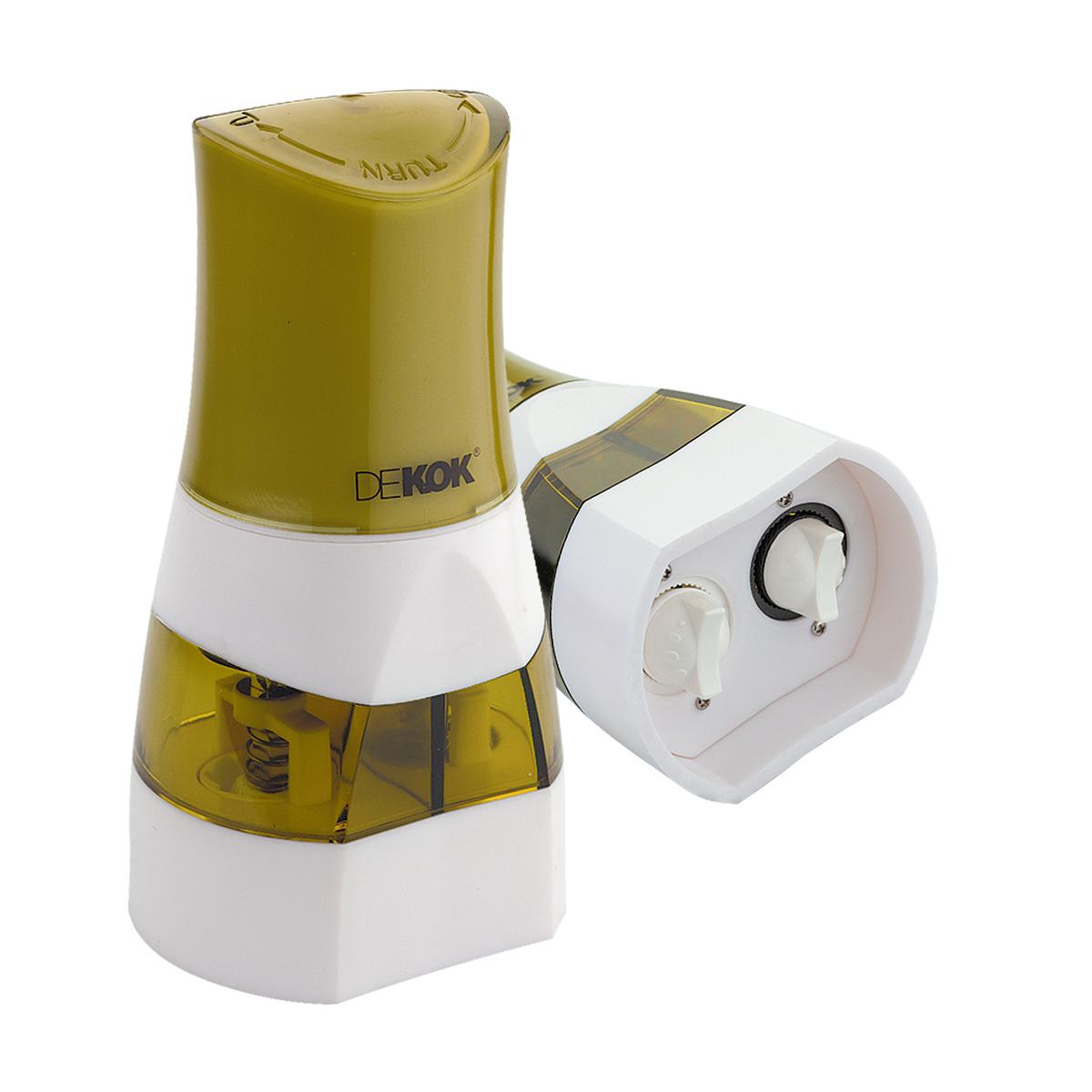 Прибор для измельчения специй Dekok, цвет: фисташковый, белыйUKA-1521Прибор для измельчения специй Dekok изготовлен из ударопрочного акрила и нержавеющей стали. Помолочный механизм выполнен из керамики. Инновационный дизайн позволяет легко наполнять измельчитель и попеременно перемалывать 2 специи. Механизм оснащен регулятором размера помола. Прибор легко открывается, достаточно лишь потянуть вверх ручки помола. Идеально подходит для хранения специй и приправ.