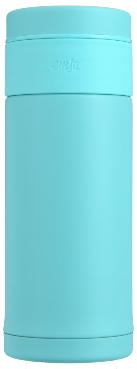 Термокружка Emsa Mobility Slim, цвет: аквамарин, 0,32 л515294Термокружка Emsa Mobility Slim - это идеальный попутчик в дороге - не важно, по пути ли на работу, в школу или во время похода по магазинам. Вакуумная кружка на 100 % герметична. Кружка имеет двустенную вакуумную колбу из нержавеющей стали, благодаря чему температура жидкости сохраняется долгое время. Изделие оснащено герметичной крышкой. Дно кружки выполнено из силикона, что препятствует скольжению. Встроенный фильтр задерживает травы, кусочки фруктов и чайные пакетики. Диаметр кружки: 6,5 см. Высота кружки: 17 см. Сохранение холодной температуры: 24 ч. Сохранение горячей температуры: 12 ч.
