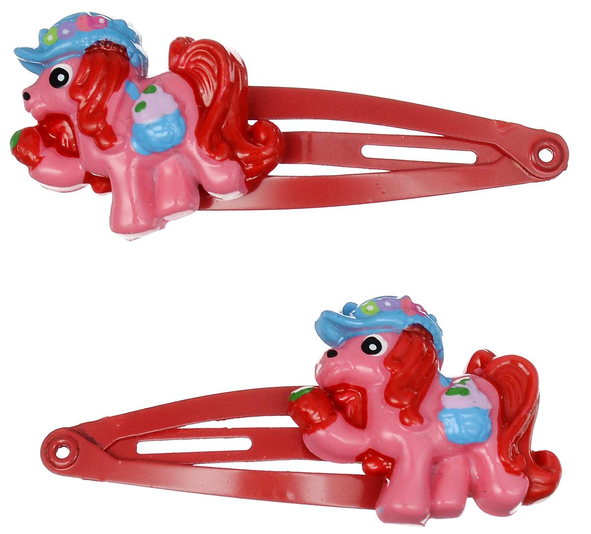 Зажим для волос Babys Joy, цвет: красный. AL 966AL 966_красныйНабор зажимов для волос Babys Joy с автоматическим зажимным механизмом изготовлен из металла и оформлен фигуркой пони, выполненной из пластика. Комплект содержит две заколочки. Зажим для волос Babys Joy надежно зафиксирует непослушные локоны и подчеркнет красоту прически вашей маленькой принцессы.