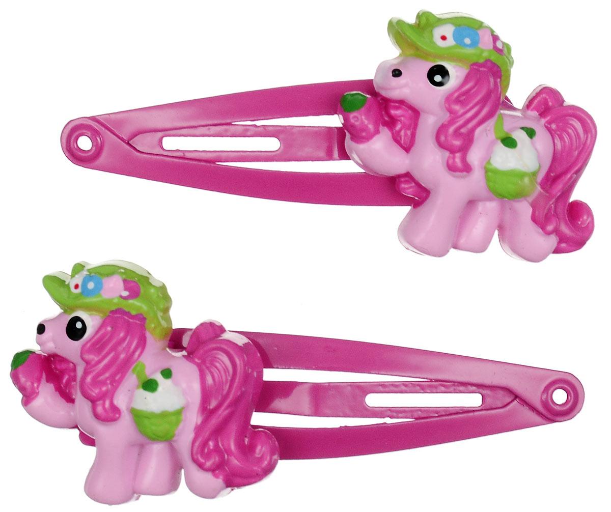 Зажим для волос Babys Joy, цвет: розовый. AL 966AL 966_малиновыйНабор зажимов для волос Babys Joy с автоматическим зажимным механизмом изготовлен из металла и оформлен фигуркой пони, выполненной из пластика. Комплект содержит две заколочки. Зажим для волос Babys Joy надежно зафиксирует непослушные локоны и подчеркнет красоту прически вашей маленькой принцессы.